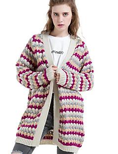 Lungo Cardigan Da donna-Casual Semplice A strisce Blu Rosso Viola A V Manica lunga Lana Autunno Inverno Medio spessore Media elasticità