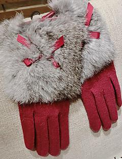 mulheres cordeiro pele comprimento dedos pulso, inverno casuais sólida