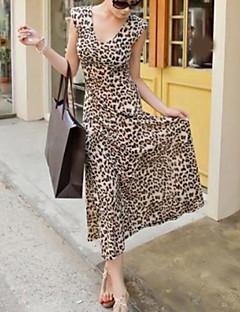 Women's Casual/Daily Sexy Swing Dress,Leopard V Neck Maxi Sleeveless Polyester All Seasons