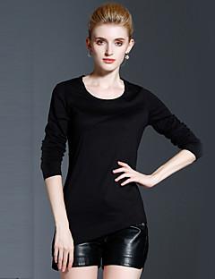 T-shirt Da donna Casual Semplice Autunno / Inverno,Tinta unita Rotonda Cotone Nero Manica lunga