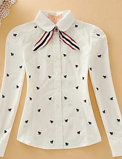 מנוקד צווארון חולצה פשוטה יום יומי\קז'ואל חולצה נשים שרוול ארוך כותנה