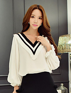 Women's Going out / Casual/Daily / Holiday Cute / Street chic / Sophisticated Spring / Fall ShirtColor Block V Neck Long Sleeve