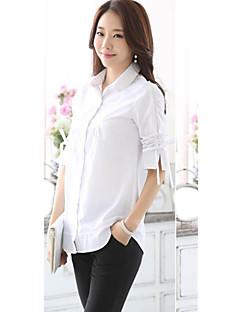 여성의 솔리드 셔츠 카라 ¾ 소매 셔츠,플러스 사이즈 캐쥬얼/데일리 블루 / 화이트 면 / 폴리에스테르 봄 얇음