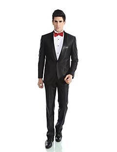 2017 Tuxedos Tailored Fit Shawl Collar Single Breasted One-button Viscose/ Wool & Polyester Blended Solid 2 Pieces