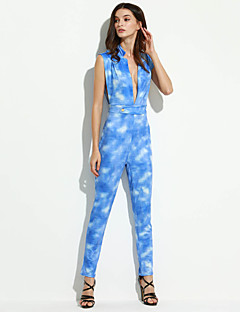Dames Sexy Medium taille Skinny Casual/Dagelijks Jumpsuits,Jacquard Print Zomer