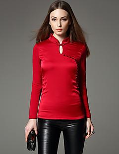 Dames Vintage / Chinoiserie Winter T-shirt,Uitgaan / Werk Effen / Patchwork Opstaand Lange mouw Rood / Zwart Polyester / Nylon / Spandex