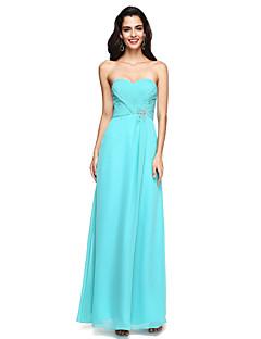 2017 Lanting Bride® Floor-length Chiffon Open Back Bridesmaid Dress - Sweetheart with Beading