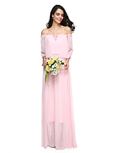 LAN TING BRIDE Floor-length Off-the-shoulder Bridesmaid Dress - Elegant Sleeveless Chiffon