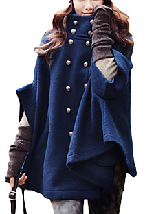 Høj krave Tyk Dame Blå Ensfarvet Efterår / Vinter Simpel Casual/hverdag Frakke,Kashmir / Polyester