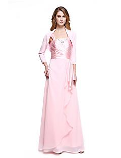 lanting bride® Mantel / Spalte Mutter der Braut Kleid bodenlangen Chiffon mit Perlen / Seite Drapierungen