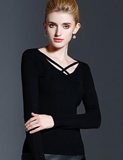 Damen Standard Pullover-Lässig/Alltäglich Einfach Solide Schwarz Rundhalsausschnitt Langarm Kunstseide Acryl Nylon Herbst Winter Mittel