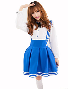 Cosplay Costumes Maid Costumes Career Costumes Festival/Holiday Halloween Costumes White Sky Blue Solid Top Skirt Halloween Christmas