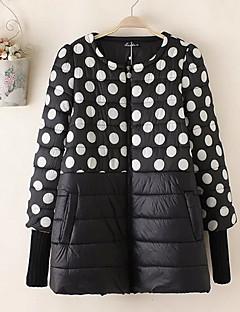 여성 심플 캐쥬얼/데일리 짧은 패딩됨 코트,도트무늬-면 폴리프로필렌 긴 소매 라운드 넥 블랙