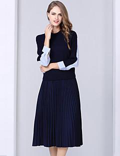 Dames Vintage / Eenvoudig Herfst / Winter Overhemd Rok Suits,Uitgaan / Casual/Dagelijks Kleurenblok Overhemdkraag Lange mouw Blauw Katoen