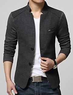 Herren Solide Vintage Einfach Lässig/Alltäglich Blazer,Ständer Frühling Herbst Langarm Standard Baumwolle Acryl Polyester