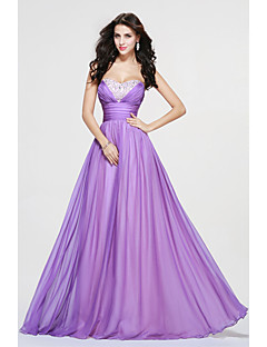 Floor-length Chiffon Sexy Bridesmaid Dress - A-line Sweetheart with Beading / Side Draping