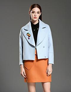 Langærmet Notch Lapel Medium Dame Blå Ensfarvet Vinter Vintage Casual/hverdag Sæt Skjørte Suits,Uld / Polyester