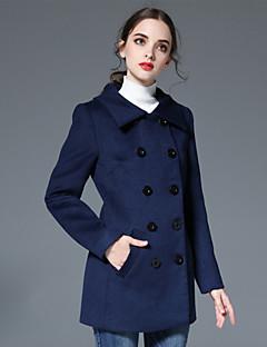 Casual/hétköznapi Egyszerű Őszi / Téli-Női Kabát,Egyszínű Hasított rever Hosszú ujj Kék / Bézs Gyapjú