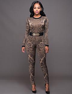 Dames Skinny Jumpsuits,Print Casual/Dagelijks / Club Vintage / Street chic Cut Out Ronde hals Lange mouw Hoge taille Polyester