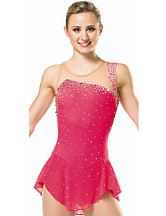 Ice Skating Dress Women's Sleeveless Skating Dresses High Elasticity Figure Skating Dress Breathable / Comfortable Lace Elastane Red