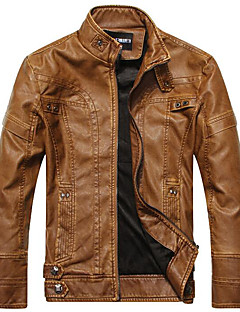 Men's Casual/Daily Simple Leather Jackets,Solid Long Sleeve Black / Brown / Yellow PU