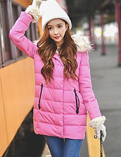Damen Daunen Mantel,Standard Niedlich / Street Schick / Anspruchsvoll Ausgehen / Lässig/Alltäglich / Urlaub Solide-Kunst-Pelz / Polyester