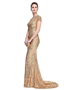 TS Couture Prom Formal Evening Dress - Elegant Celebrity Style Trumpet / Mermaid Jewel Sweep / Brush Train Sequined with Sequins