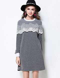 MEIDONGTAI Women's Plus Size / Casual/Daily Simple Shift DressPatchwork Round Neck Above Knee Long Sleeve Gray Cotton / Polyester / SpandexFall /