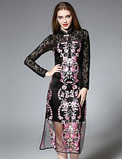 Damen Spitze Kleid-Lässig/Alltäglich Chinoiserie Stickerei Ständer Midi Langarm Schwarz Seide / Polyester Herbst Mittlere Hüfthöhe