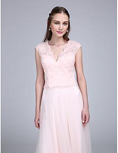 LAN TING BRIDE Floor-length V-neck Bridesmaid Dress - See Through Sleeveless Lace Tulle