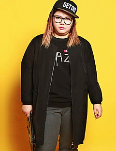 Women's Plus Size Casual/Daily Simple Sweatshirt Letter Round Neck Micro-elastic Polyester Spandex Long Sleeve Winter