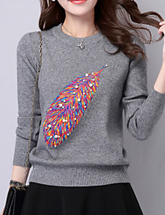 Women's Casual/Daily Cute Regular Pullover,Patchwork Red / White / Black / Gray / Yellow Round Neck Long Sleeve Wool Fall Medium Stretchy