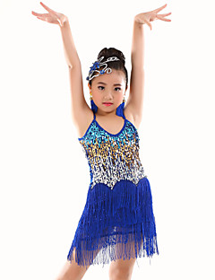 Belly Dance Leotards Children's Performance Polyester Sequins / Tassel(s) 1 Piece Sleeveless Natural Leotard