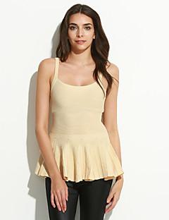 Women's Solid White / Beige Vest,Sexy / Street chic Sleeveless