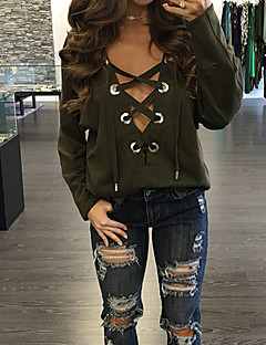 Women's Lace up Going out / Casual/Daily / Holiday Simple / Street chic / Active Fall / Winter T-shirt,Solid V Neck Long SleeveRed / Black /