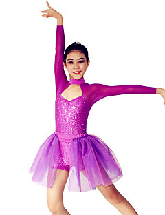 Jazz Leotards Women's / Children's Performance Spandex / Polyester / Organza / Sequined Paillettes / Sequins / Side-Draped / Splicing2