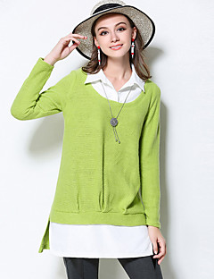 Женский На каждый день / Большие размеры Осень Рубашка Рубашечный воротник,Простое Пэчворк Зеленый Длинный рукав,Акрил / Полиэстер,Средняя