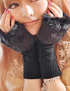 kaninpels halv finger håndled længde, Jacquard afslappet vinter