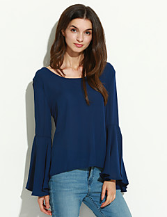 Women's Solid Blue Blouse,Round Neck Long Sleeve