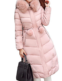 Women's Regular Padded Coat,Sexy Casual/Daily / Holiday Solid-Cotton Polypropylene Long Sleeve Hooded Pink / Black / Gray