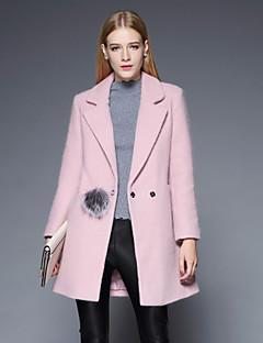 Dames Vintage Winter Jas,Casual/Dagelijks / Grote maten Ingesneden revers-Lange mouw Roze / Beige / Groen Effen Medium Wol / Polyester