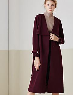 Damen Solide Einfach Lässig/Alltäglich Trenchcoat,Frühling / Herbst V-Ausschnitt Langarm Rot Mittel Polyester