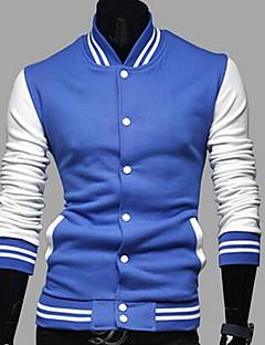 Masculino Jaqueta Casual estilo antigo / Moda de RuaColorido Azul / Vermelho / Preto / Cinza AlgodãoManga Longa