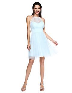 LAN TING BRIDE קצר \ מיני עם תכשיטים שמלה לשושבינה - גב יפהפייה ללא שרוולים שיפון
