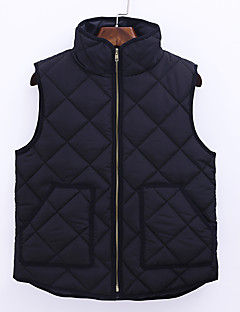 Women's Regular Padded CoatSimple / Street chic Going out / Casual/Daily Warm Plus Size Solid Sleeveless Stand Black