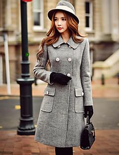 Damen Solide Retro / Street Schick / Anspruchsvoll Ausgehen / Lässig/Alltäglich / Arbeit Mantel,Herbst / Winter Mit Kapuze Langarm Grau