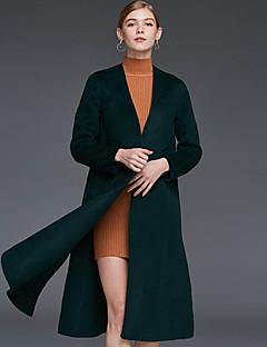V-hals Langærmet Dame Brun / Grøn Ensfarvet Vinter Simpel Casual/hverdag Frakke,Uld