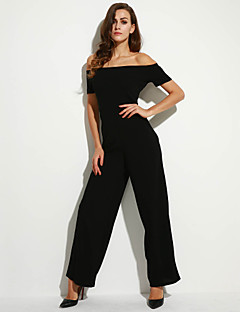 Women's Solid Backless Off Shoulder Wide Leg Jumpsuits,Sexy Boat Neck Short Sleeve