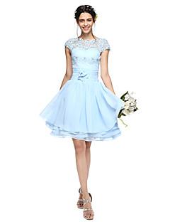 Lanting Bride® Ke kolenům Šifón Otevřená záda Šaty pro družičky - A-Linie Stojáček sAplikace / Korálky / Mašle / Knoflíky / Květina(y) /