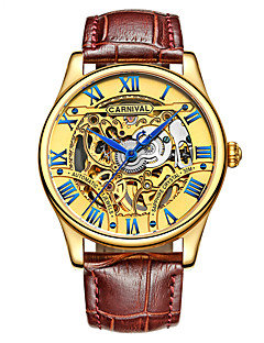 Carnival Men's Skeleton Watch Automatic self-winding Hollow Engraving Leather Band Vintage / Cool Brown Brand